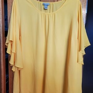 3X Yellow Crepe Top